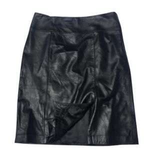 "new🌺 Jaclyn Smith 100% Leather 7"" slit Skirt - 12"